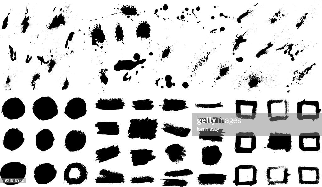 Big set of grunge stains. Design elements for poster, banner, card.