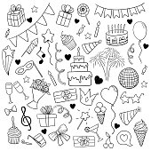 big set of hand drawn doodle cartoon objects and symbols on the birthday party. design holiday greeting card and invitation of wedding, Happy mother day, birthday, Valentine s day and holidays.