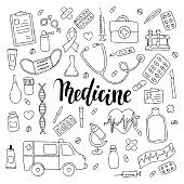 big set of hand drawn doodle medicine with lettering. Hand drawn calligraphy and brush pen lettering phrase medicine