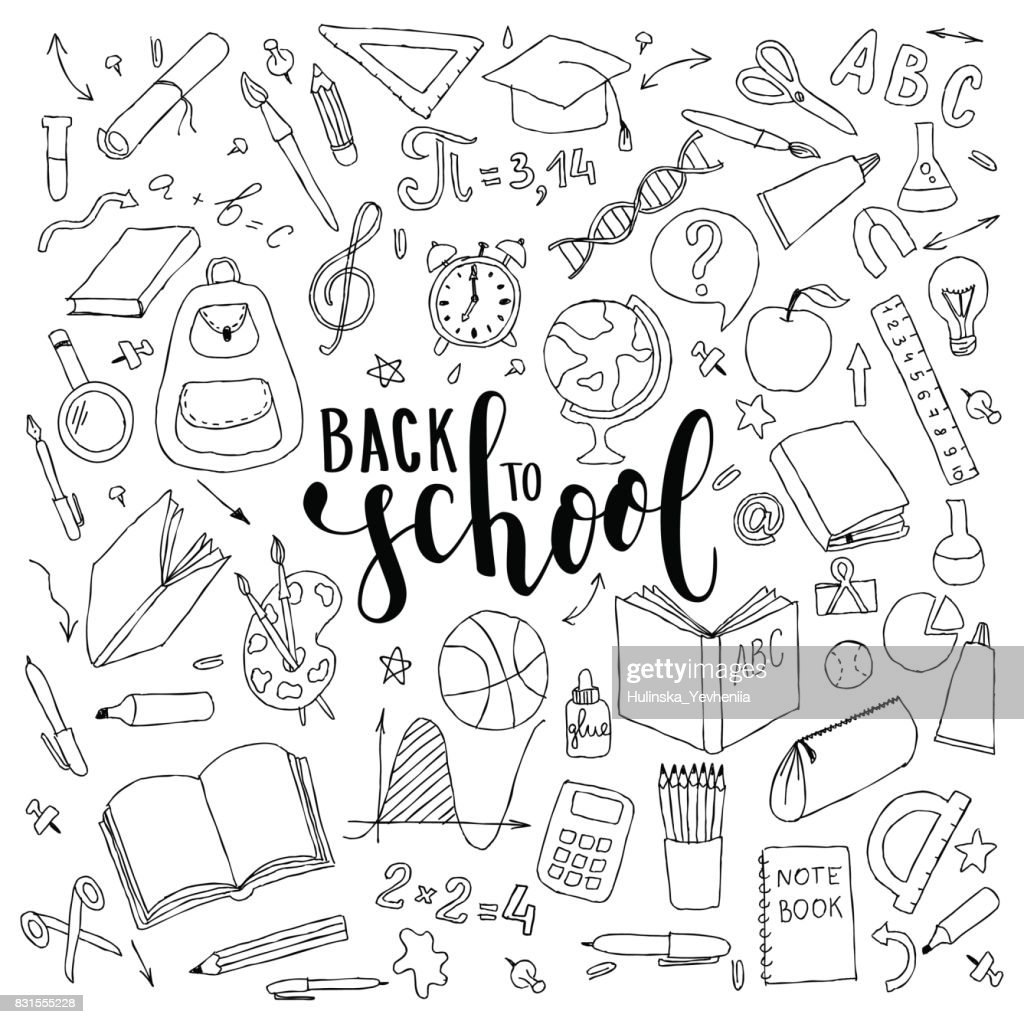 big set of hand drawn doodle welcome back to school with lettering. Hand drawn calligraphy and brush pen lettering phrase back to school