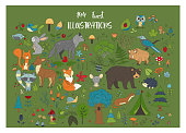 Big set of hand drawn forest illustraitions with color cartoon animals