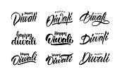 Big Set of Handwritten lettering type composition of Happy Diwali. Vector illustration.