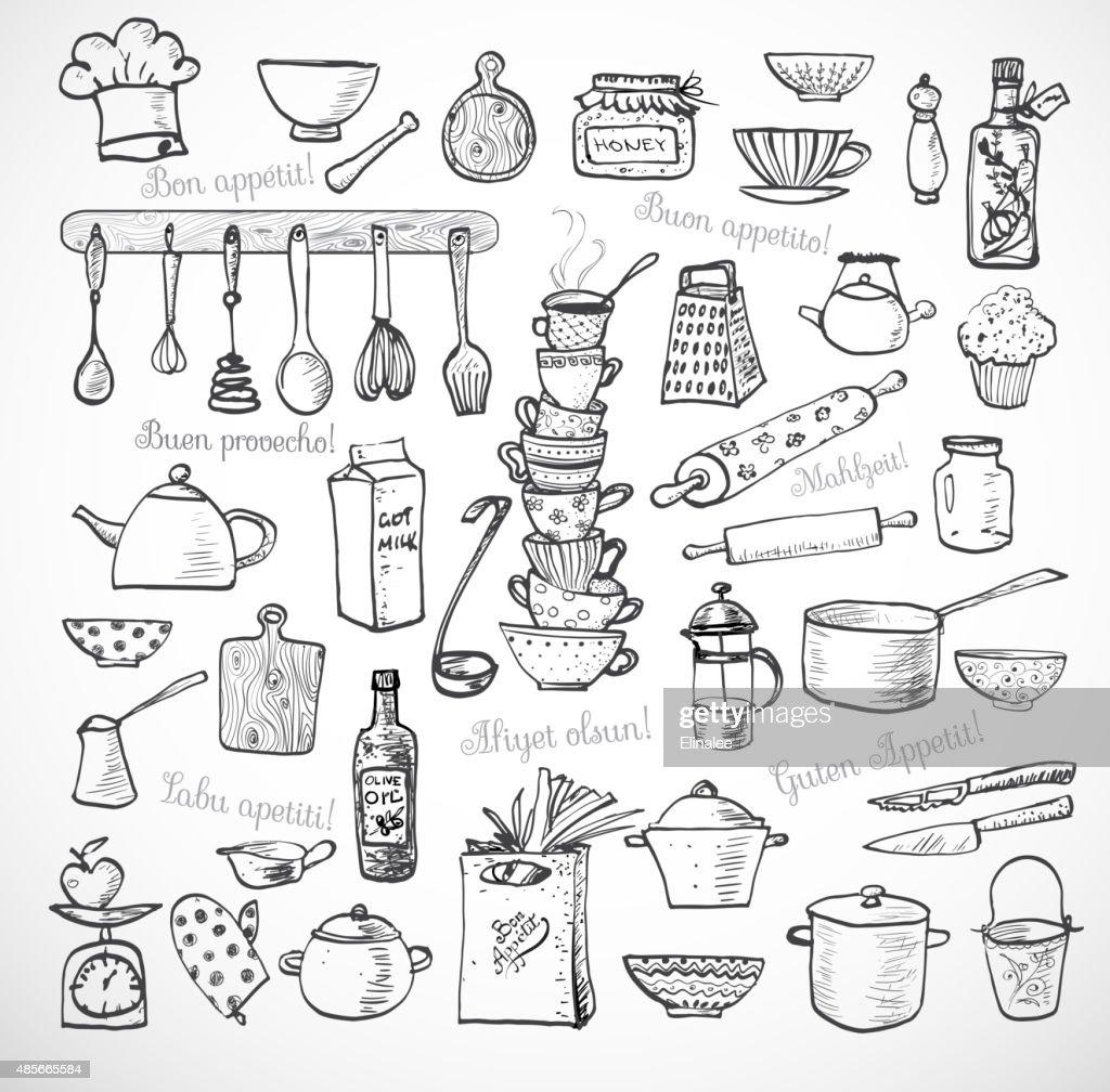 Big set of kitchen sketch utensils on white