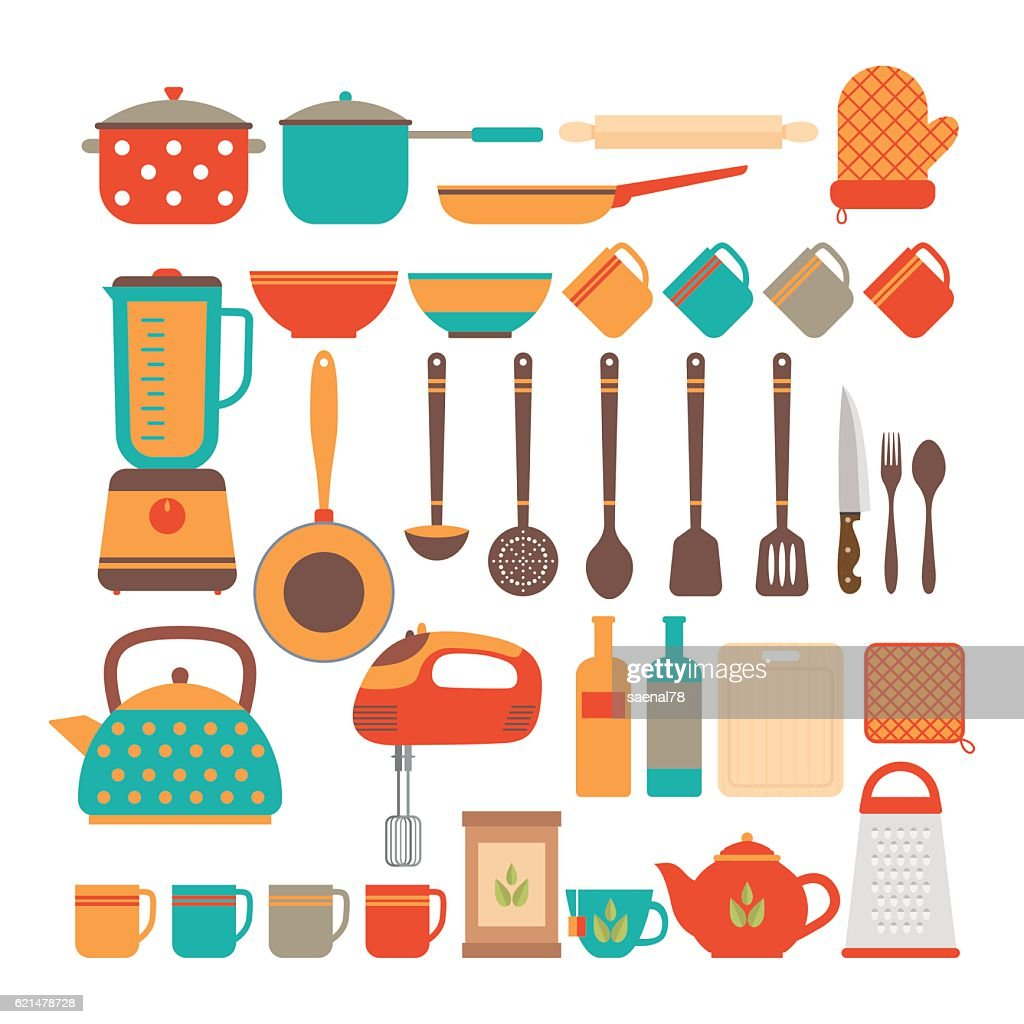 Big set of kitchen utensils. Home appliances for cooking