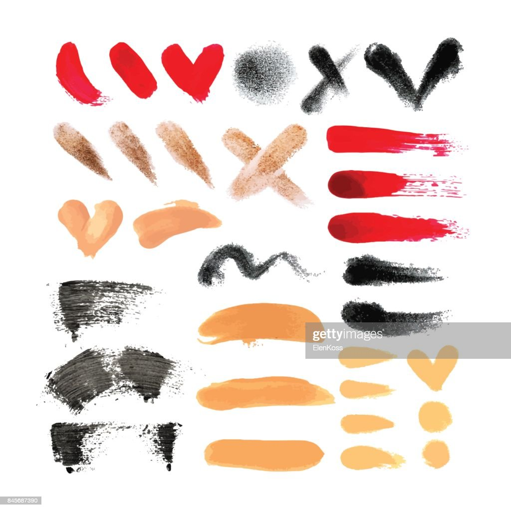 Big set of makeup tools texture. Nail polish, eye shadow, mascara, foundation and concealer. Natural textures in beige, red, brown colors. Fashion cosmetic texture set.
