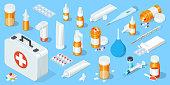 Big set of medical equipment and pharmacy. First Aid Kit. Isometric vector illustration