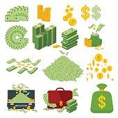 big set of money