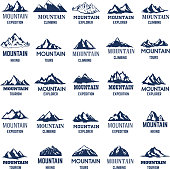 Big set of mountain icons. Design element for  label ,emblem, sign.