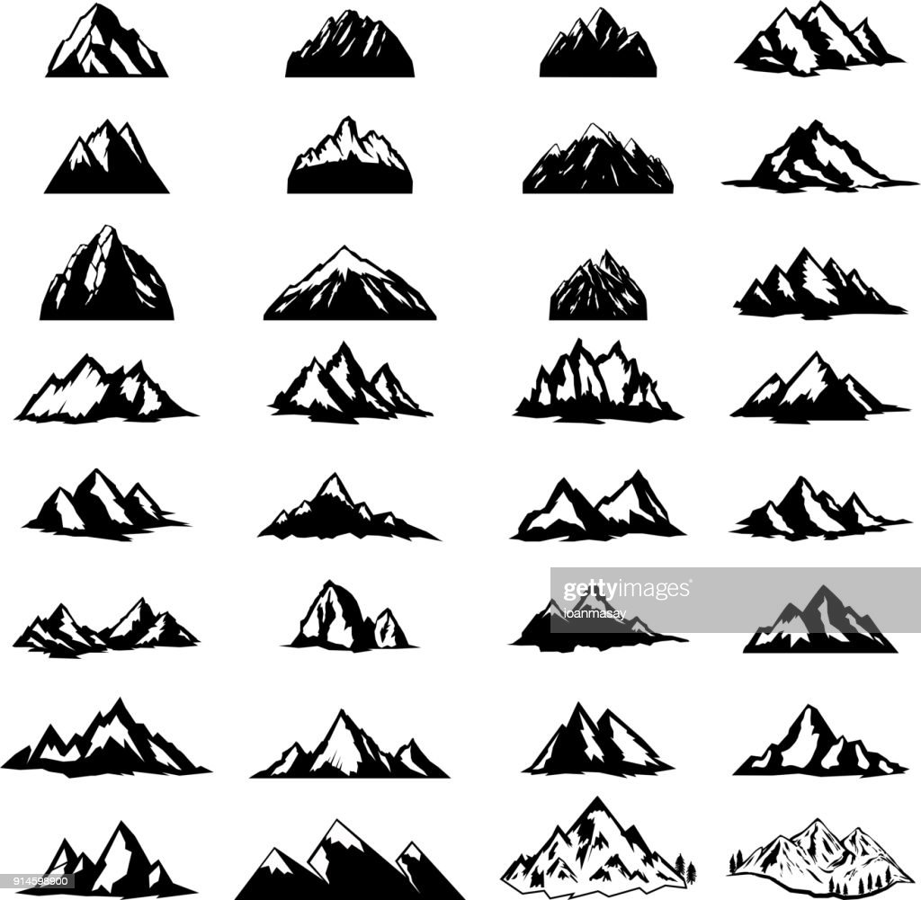 Big set of mountain icons isolated on white background. Design elements for  label, emblem, sign.
