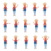 Big set of old farmer characters showing different hand gestures