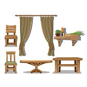 Big set of old wooden furniture in Wild West style