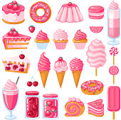 Big set of pink sweet food. Donut, ice cream, muffins, smoothies, macaroons and candies. Vector illustration