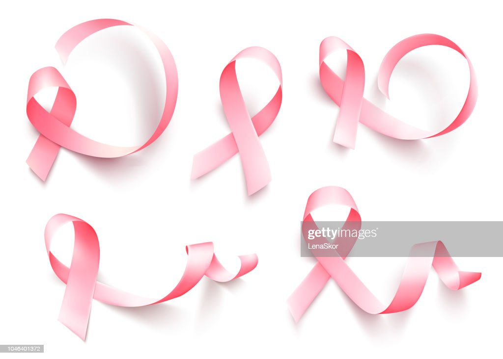 Big set of realistic pink ribbon isolated over white background. Symbol of breast cancer awareness month in october. Vector