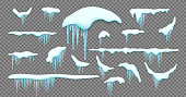 Big set of realistic snow caps, icicles, snowball and snowdrift isolated over white background.