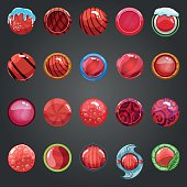 Big set of round red button