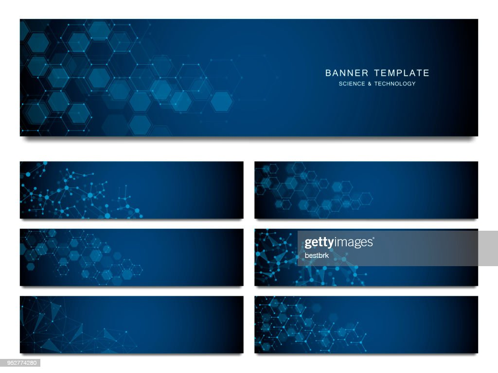 Big set of science and technology banners. Molecular and chemical structure