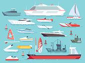 Big set of sea boats and little fishing ships. Sailboats flat vector icons