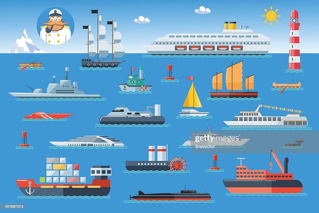 Big set of sea ships. Side view vector illustration.