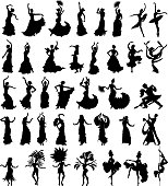 Big set of silhouettes of dancers on white background