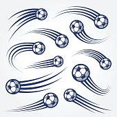 Big Set of soccer balls with curved motion trais illustrations