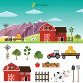 Big set of vector farm elements and animals background