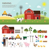 Big set of vector farm elements and animals background.
