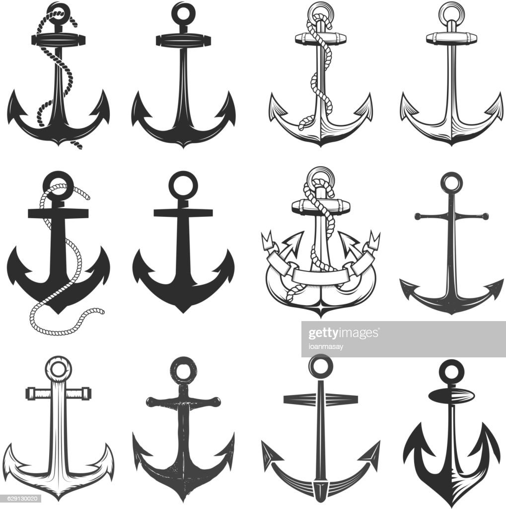 Big set of vintage style anchors isolated on white background.
