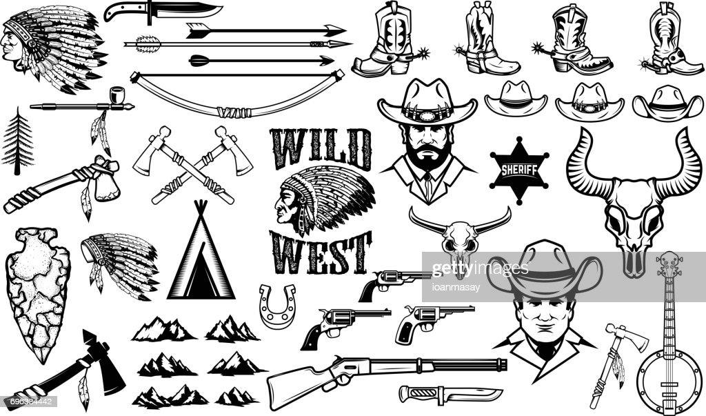 Big set of wild west icons.Cowboys, indians, vintage weapon. Design elements for label, emblem, sign, badge. Vector illustration