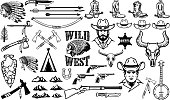 Big set of wild west icons.Cowboys, indians, vintage weapon. Design elements for label, emblem, sign, badge. Vector illustration