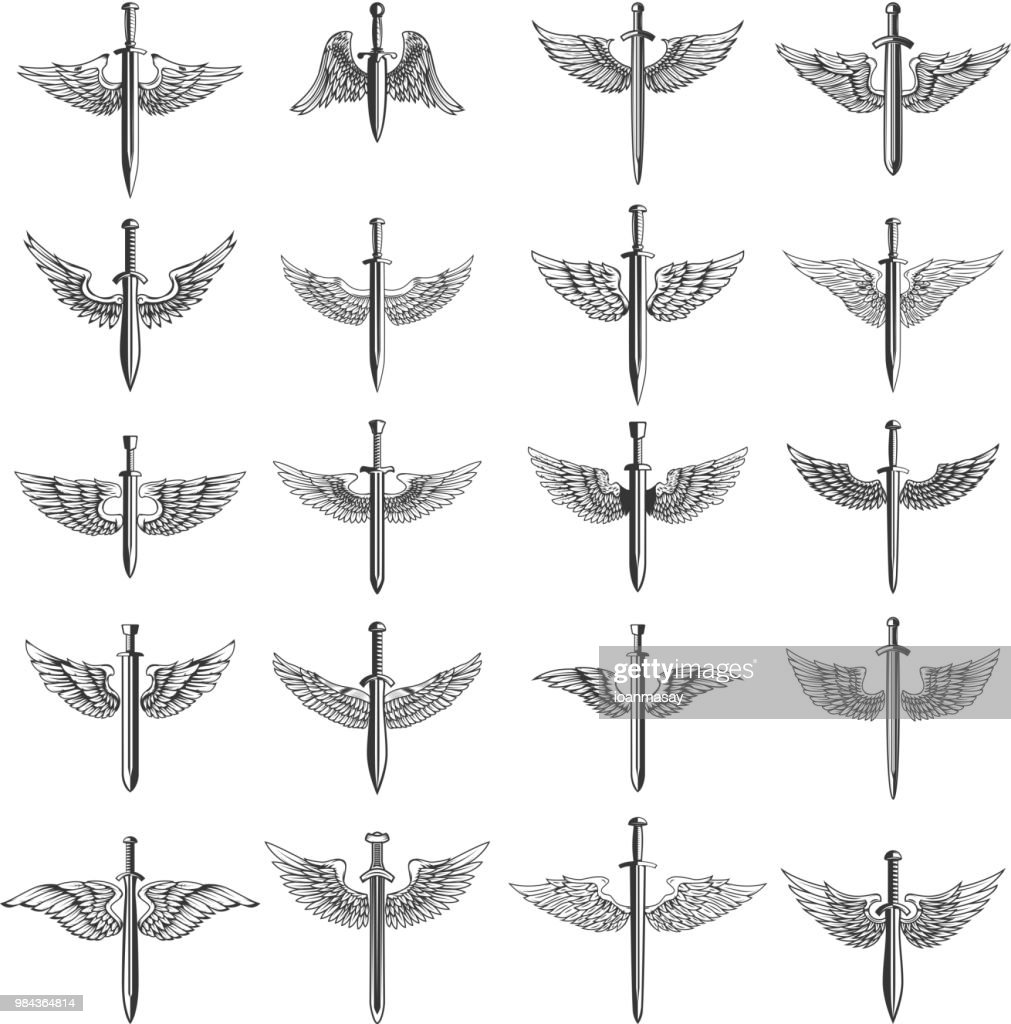 Big set of winged swords. For emblem, sign,  label, badge.