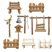 Big set of wooden objects, design ranch, village