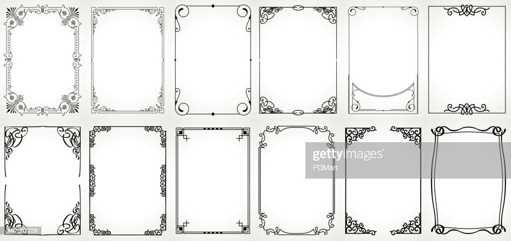 Big set Template of Decorative vintage frames,borders rectangular shape. Old backgrounds .