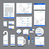 Big set trifold flyer brochure business card letter head envelop