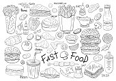 Big set  vector fast food elements on white background.