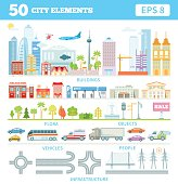 Big set with city elements to make your own city.
