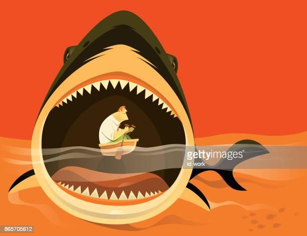 大きなサメ攻撃実業家