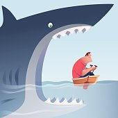 big shark attacking businessman who is rowing