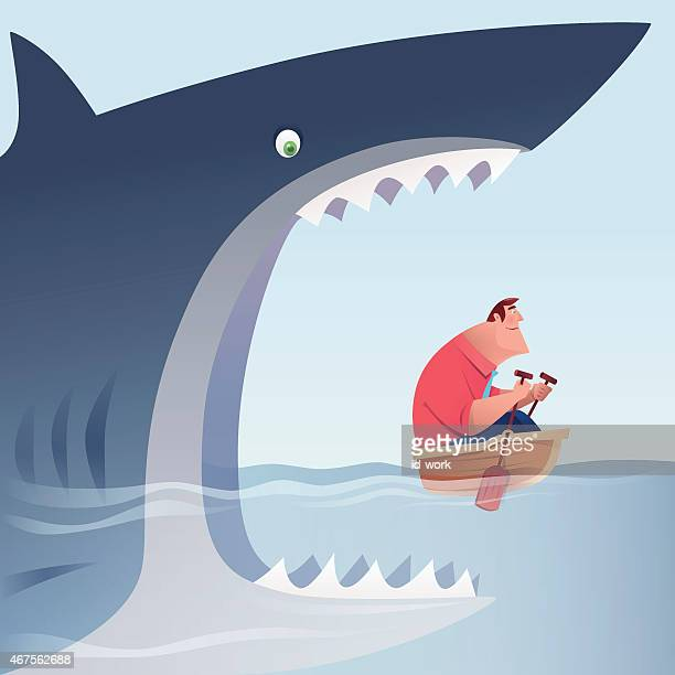 illustrations, cliparts, dessins animés et icônes de attaque grand requin homme d'affaires qui est de l'aviron - confinement clip art