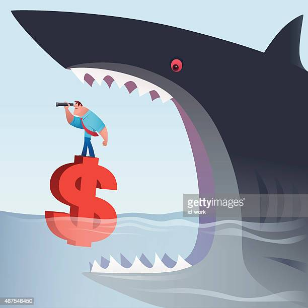 big shark attacking businessman who is standing on money sign - agression stock illustrations, clip art, cartoons, & icons