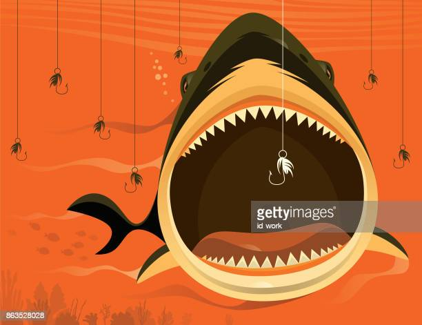 big shark with fishing hooks - incentive stock illustrations, clip art, cartoons, & icons