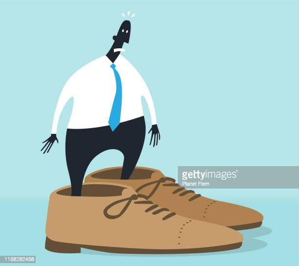 big shoes to fill - ineptitude stock illustrations