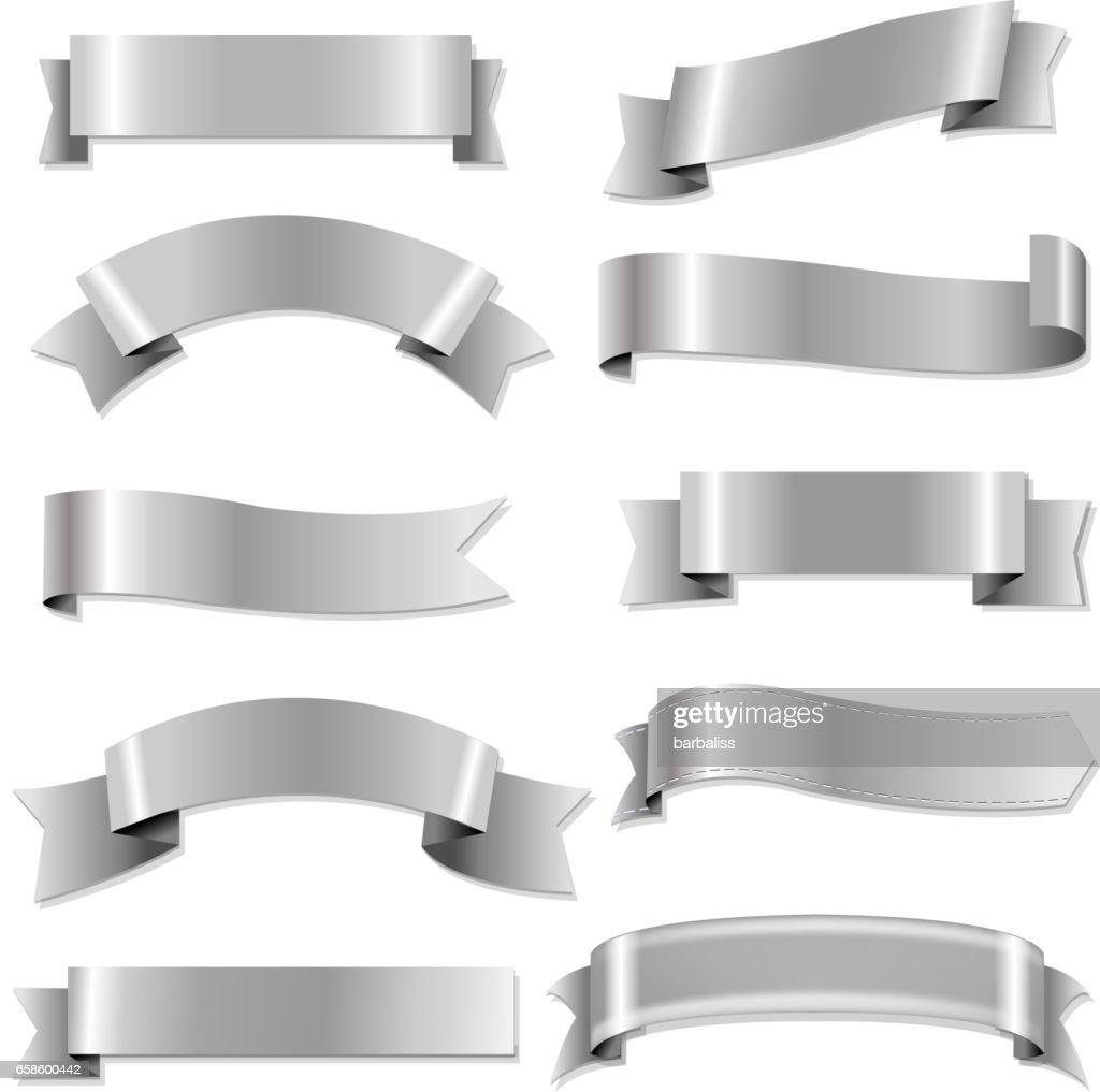 Big Silver Ribbons Set