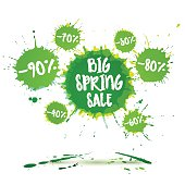 Big spring sale poster and spring sale banner. Vector watercolor