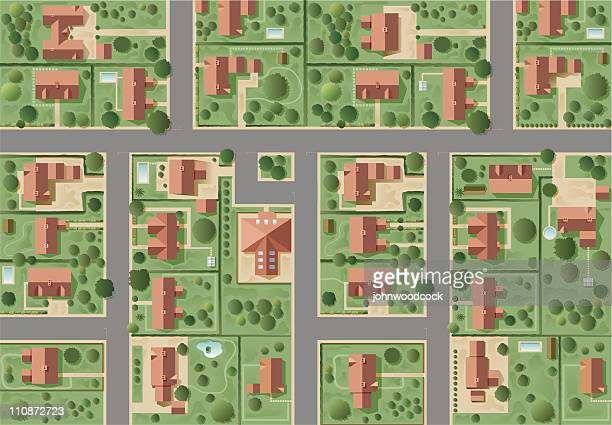 big suburb - looking down stock illustrations, clip art, cartoons, & icons