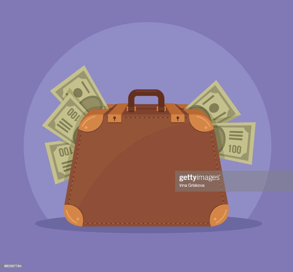 Big suitcase full of money isolated icon