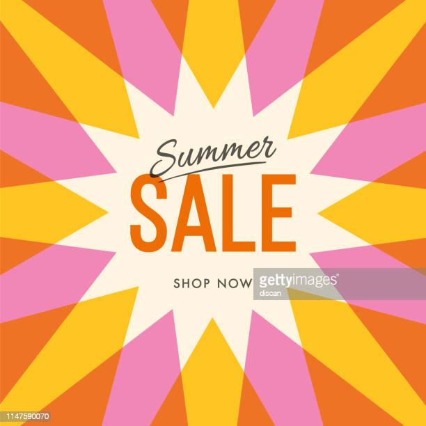 illustrazioni stock, clip art, cartoni animati e icone di tendenza di big summer sale banner with sun. sun with rays. summer template poster design for print or web. - saldi