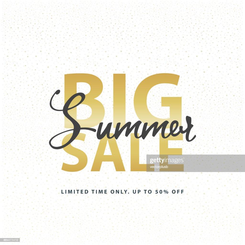 Big Summer Sale gold sign in white golden glitter background. Vector web banner template illustration