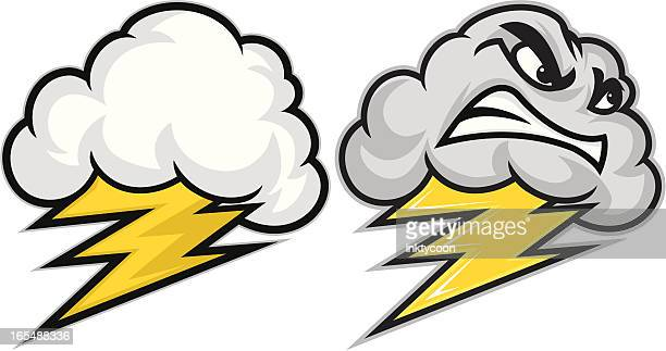 big thunder little lightning - storm stock illustrations