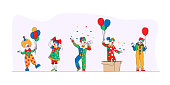 Big Top Circus Clowns. Funny Carnival Funsters Characters, or Jesters in Bright Costumes, Performing Show on Stage