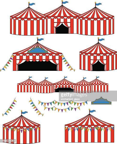ilustraciones, imágenes clip art, dibujos animados e iconos de stock de el gran circus/carnival tiendas - carpa de circo